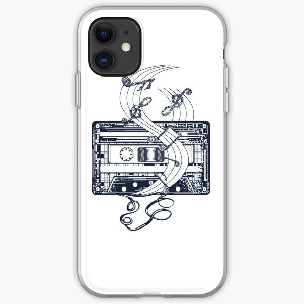 Retro music tattoo. Old audio type and notes iPhone Soft Case