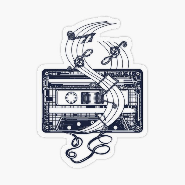 Retro music tattoo. Old audio type and notes Transparent Sticker