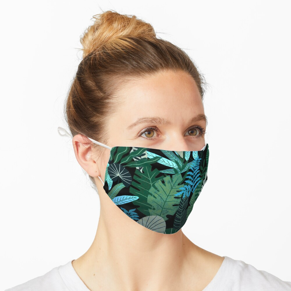 Blue Tropical Jungle at Night Mask