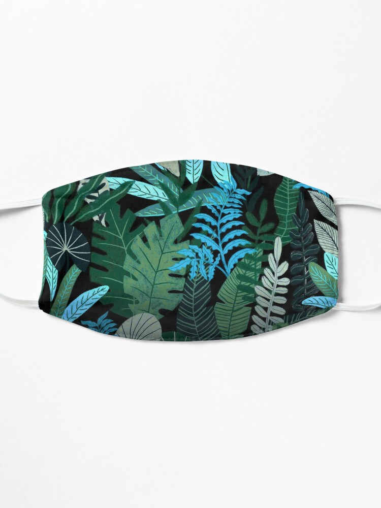 Alternate view of Blue Tropical Jungle at Night Mask
