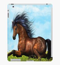 Brown Horse sitting on the flowers and grass iPad Case iPad Case/Skin