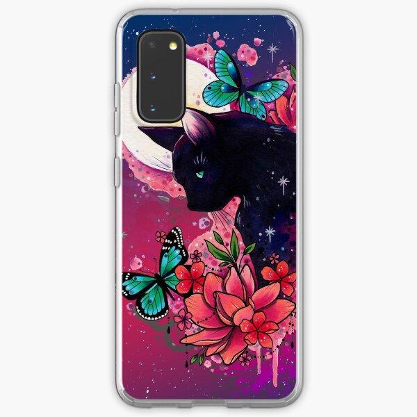 Midnight Cat watercolor design Samsung Galaxy Soft Case
