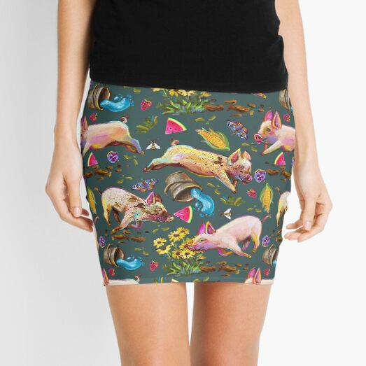 Super Cute Pig Ruckus Pattern on Teal Mini Skirt