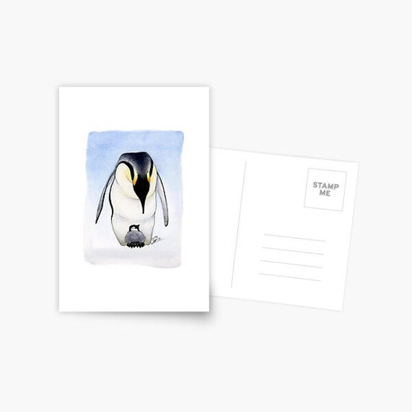 Emperor Penguin and Chick Postcard