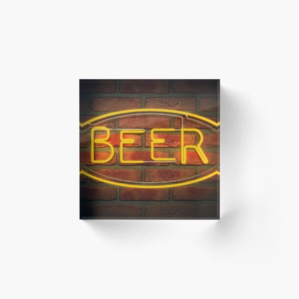 Neon Beer Sign on A Face Brick Wall Acrylic Block