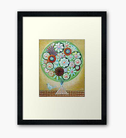 Green Flowers Framed Print