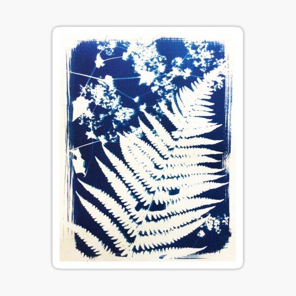 Abstract Fern Cyanotype Sticker