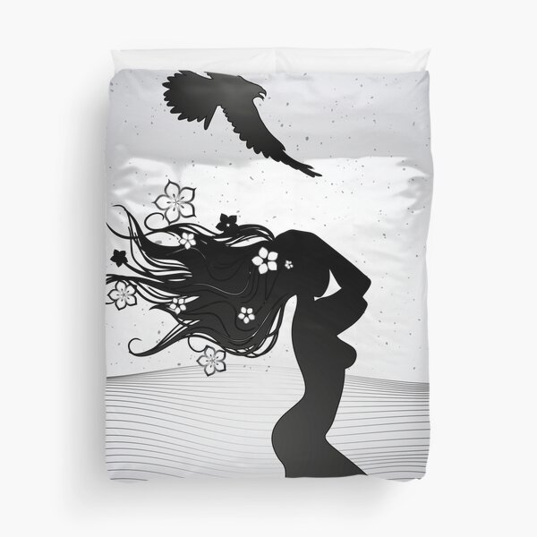 the silhouette of a woman with long hair decorated with flowers Duvet Cover