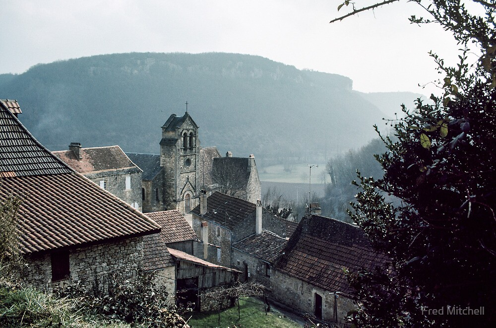 Church of Castelnaud from village heights 19840227 0027 by Fred Mitchell