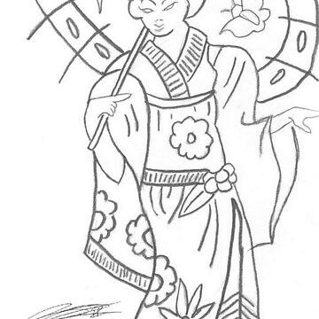 Geisha Drawing by CaptainJeff