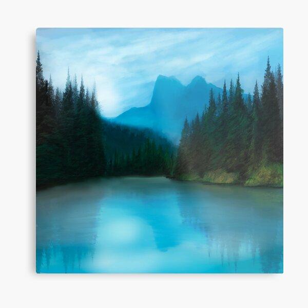 Mirror Smooth Lake Metal Print
