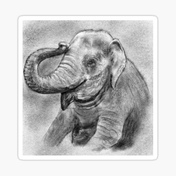 Charcoal Elephant Sticker