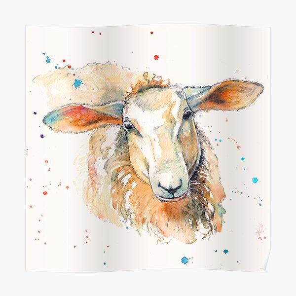 Colorful Farmhouse Sheep Poster