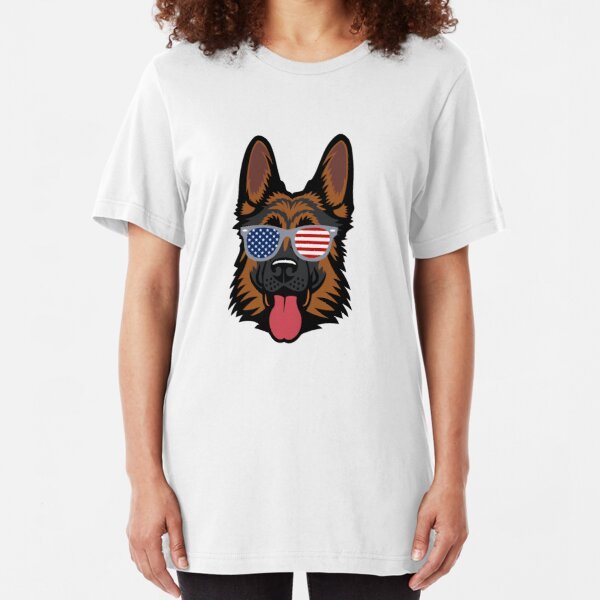 German Shepherd Cool American Patriot Slim Fit T-Shirt