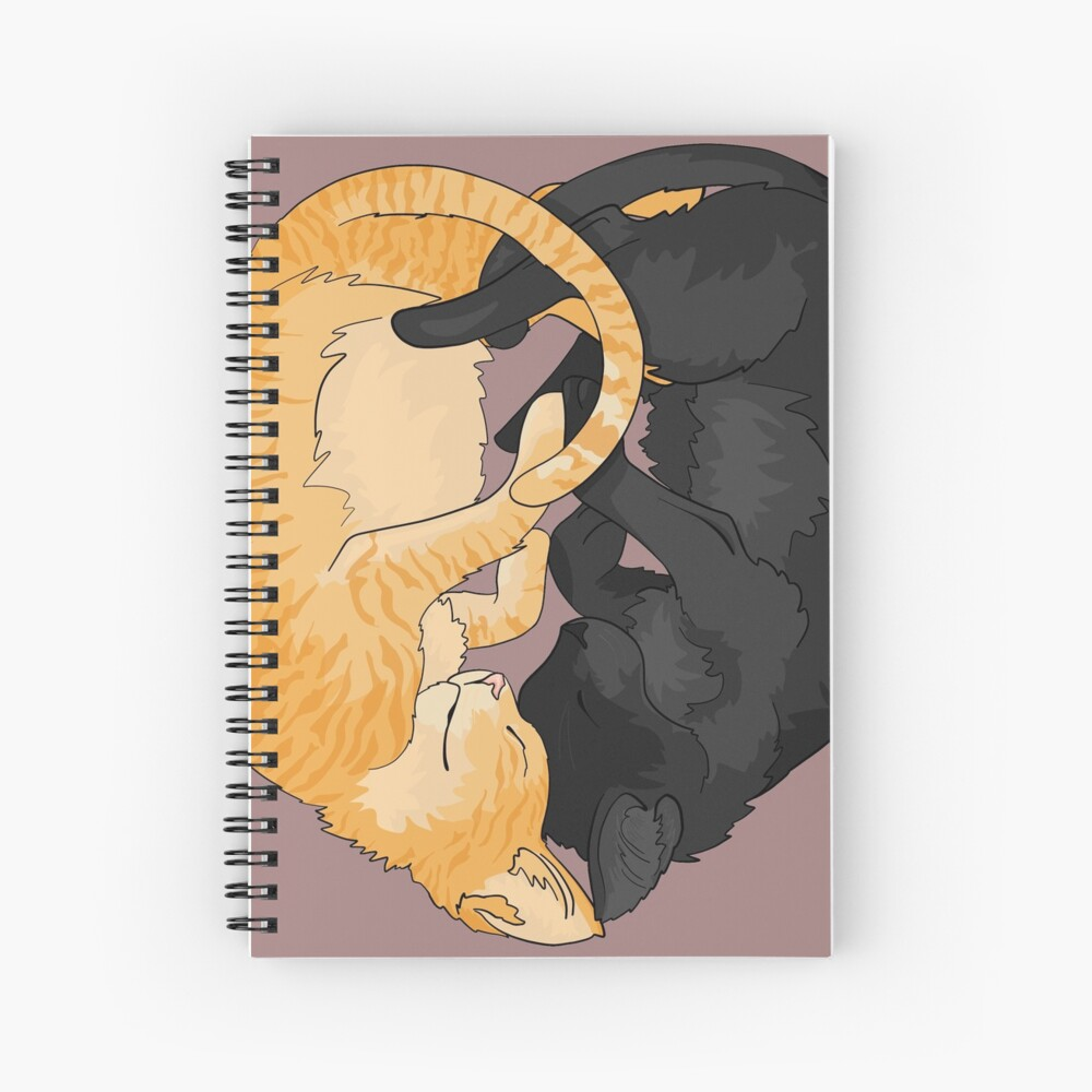 Ogg and Flac Black and Orange Tabby Kitten Heart Spiral Notebook