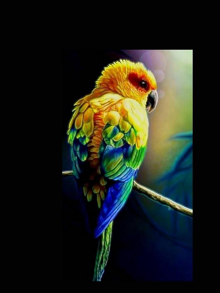 TROPICAL BIRD YELLOW BLUE GREEN by michaeltodd