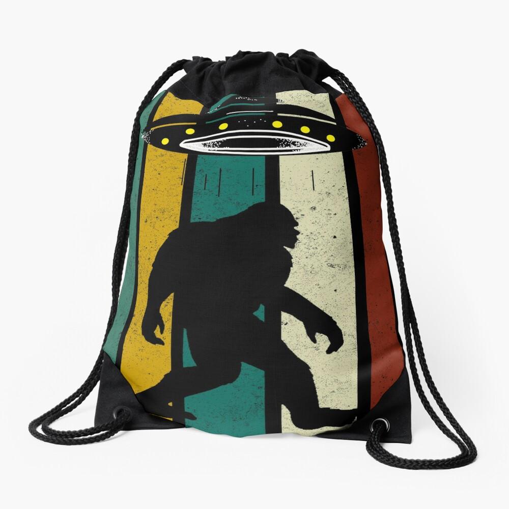 Retro Bigfoot Ufo Aliens Vintage, Funny Gift Drawstring Bag