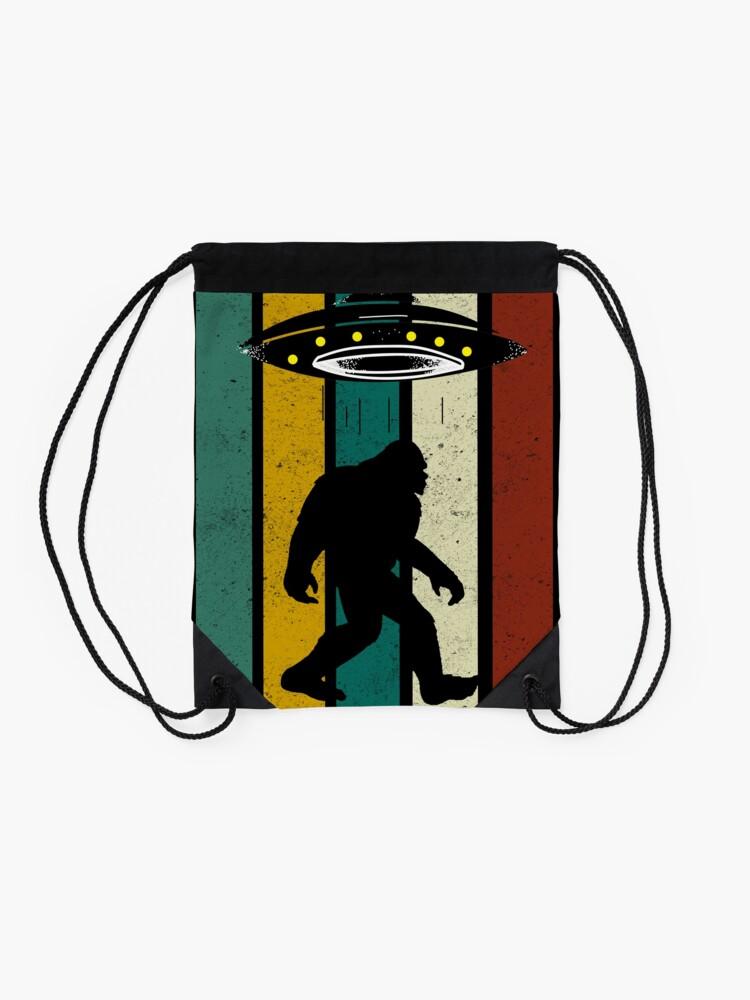 Alternate view of Retro Bigfoot Ufo Aliens Vintage, Funny Gift Drawstring Bag
