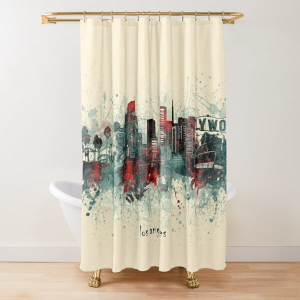 Urban Shower Curtain Downtown Los Angeles USA Print for Bathroom