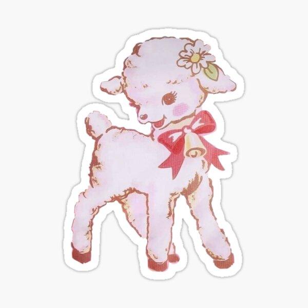 cute kitsch vintage lamb Sticker
