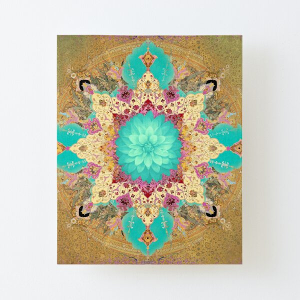 Ornate and Textured Persian Design with Flower Canvas Mounted Print