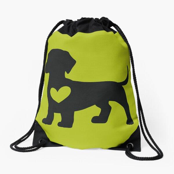 Daschund Heart Drawstring Bag