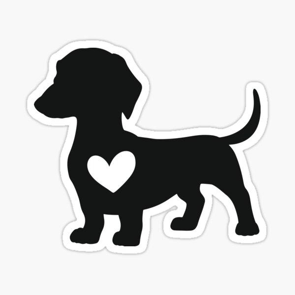 Daschund Heart Sticker