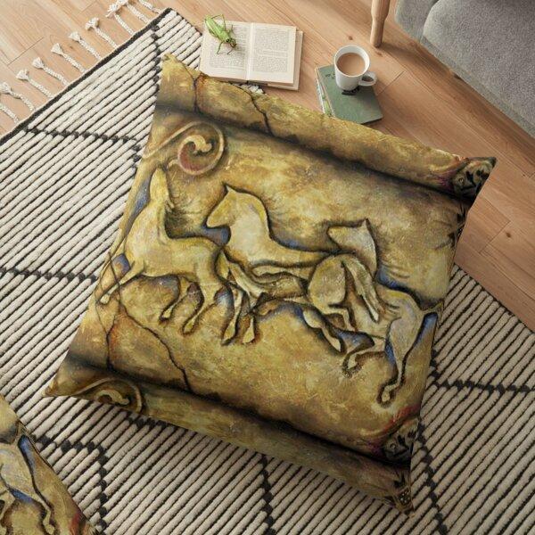 Three Horses Cave Art Floor Pillow
