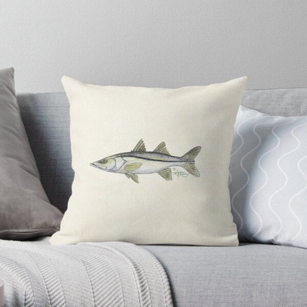 """""""Snook"""" by Amber Marine ~ watercolor fish art, © 2013 Throw Pillow"""