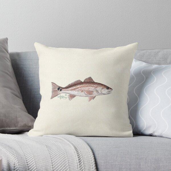 """Redfish"" by Amber Marine ~ watercolor fish art, © 2013 Throw Pillow"