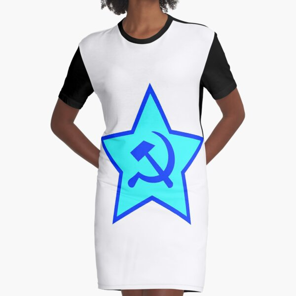 Blue Star, Hammer, and Sickle Graphic T-Shirt Dress