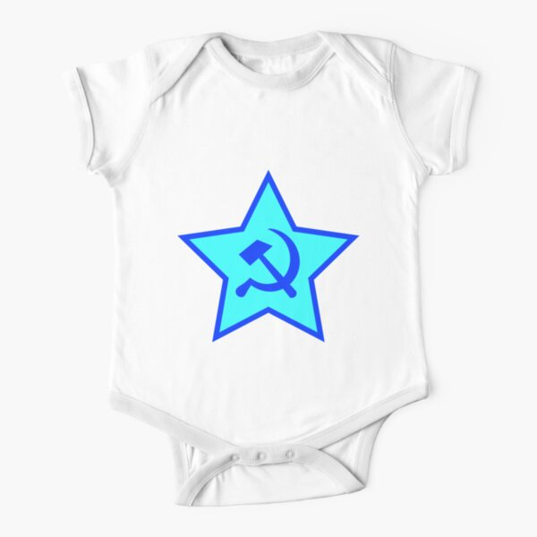 Blue Star, Hammer, and Sickle Short Sleeve Baby One-Piece