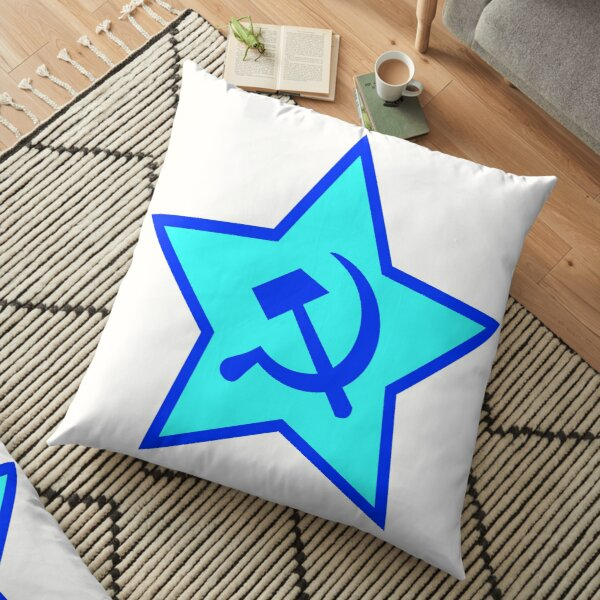Blue Star, Hammer, and Sickle Floor Pillow