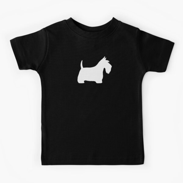 White Scottish Terrier Silhouette(s) Kids T-Shirt