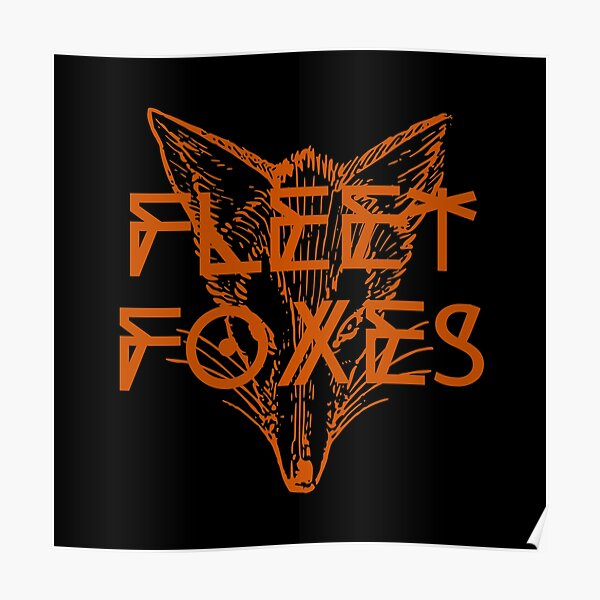 Fleet Foxes // Fox Drawing and Geometric Illustration Poster