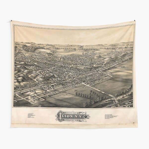 Panoramic Maps Bird's eye view of Ilion NYpopulation 4500 Tapestry