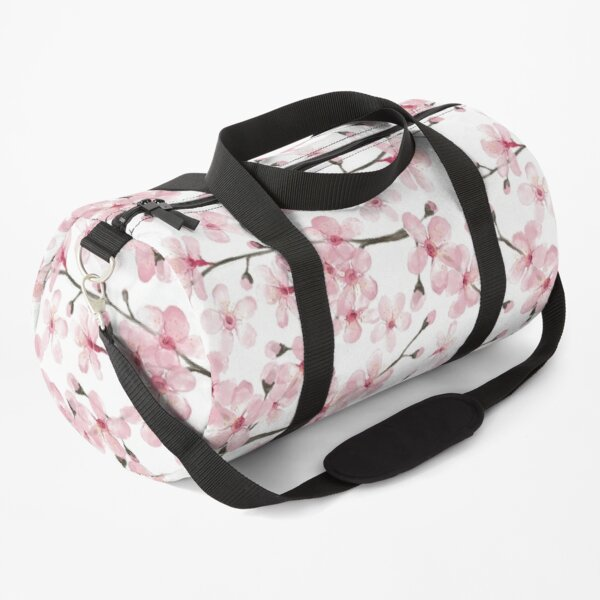 Cherry Blossom watercolor fashion and home decor by Magenta Rose Designs Duffle Bag