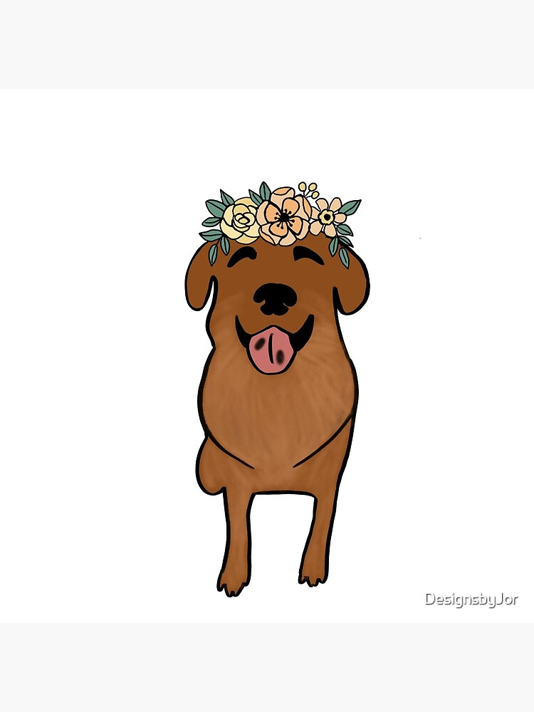 Cartoon Dog Drawing With Flower Crown Brown Dog Greeting Card By Designsbyjor Redbubble Provided to youtube by sony music entertainment dog with crown and earring · joe satriani additional creations and bonus tracks ℗ 2004 epic records, a. redbubble