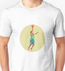 Basketball Player Lay Up Rebounding Ball Low Polygon Unisex T-Shirt