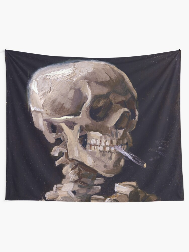 Alternate view of Vincent Van Gogh - Skull with Burning Cigarette (new color edit) Tapestry