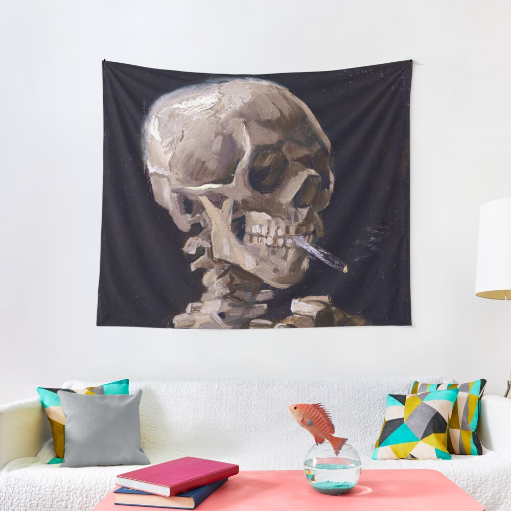 Vincent Van Gogh - Skull with Burning Cigarette (new color edit) Tapestry
