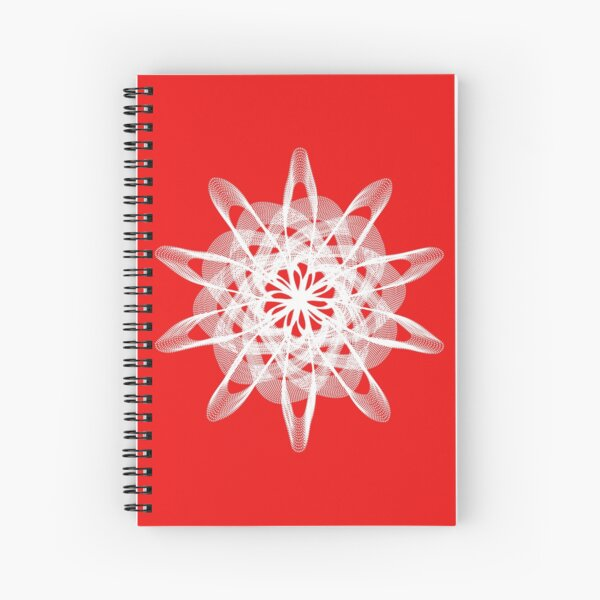 Spirograph Red White Spiral Notebook