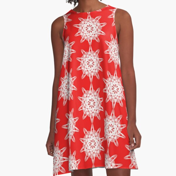 Spirograph Red White A-Line Dress