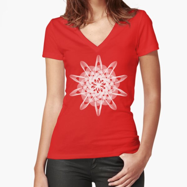 Spirograph Red White Fitted V-Neck T-Shirt