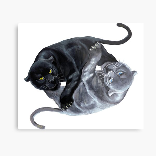 Panthers Yin Yang T-Shirt Metal Print