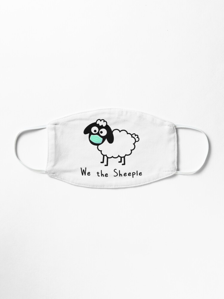 Alternate view of We the Sheeple - Com'on follow me - just not too close - cute & funny sheep medical mask art - Baa Mask