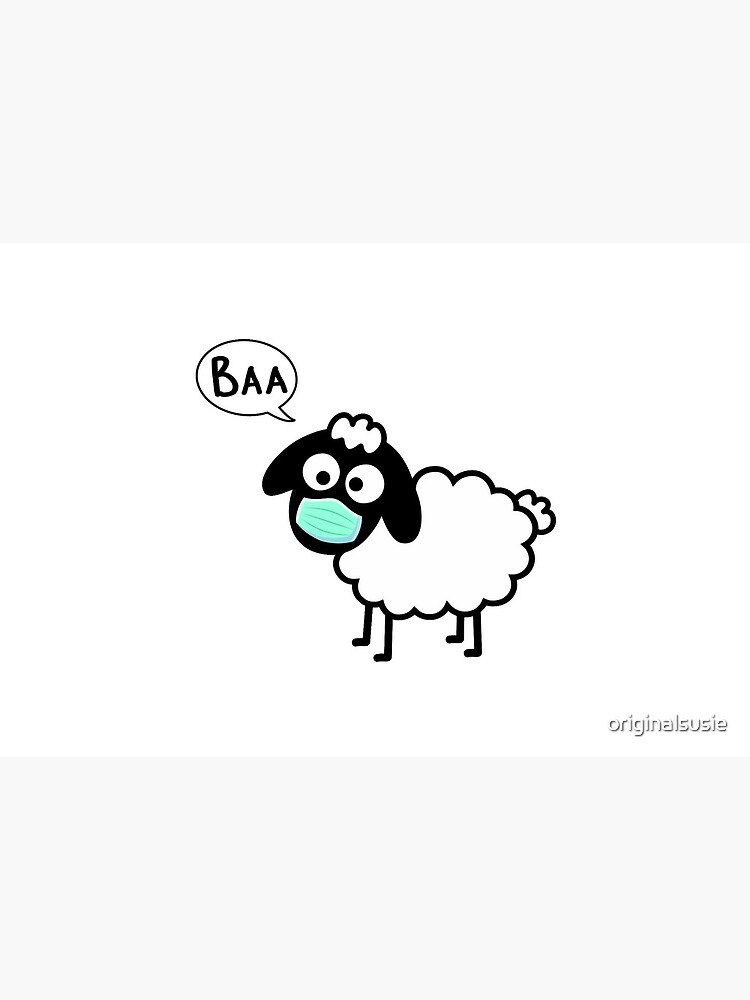 Sheeple follow me - just not too close - cute & funny sheep medical mask art - Baa by originalsusie