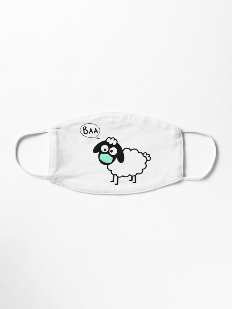 Alternate view of Sheeple follow me - just not too close - cute & funny sheep medical mask art - Baa Mask