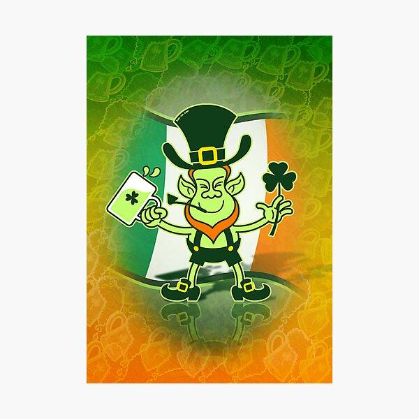 Green Leprechaun Drinking a Toast Photographic Print