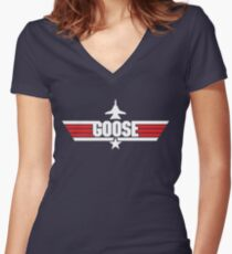 Custom Top Gun Style - Goose Women's Fitted V-Neck T-Shirt